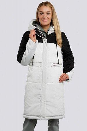 Белый Пальто зимнее на утеплителе термофин. Удобное пальто прямого силуэта, выделяется контрастным цветовым сочетанием. Застежка на молнию и планку с кнопками, боковые карманы имеют оригинальный кро