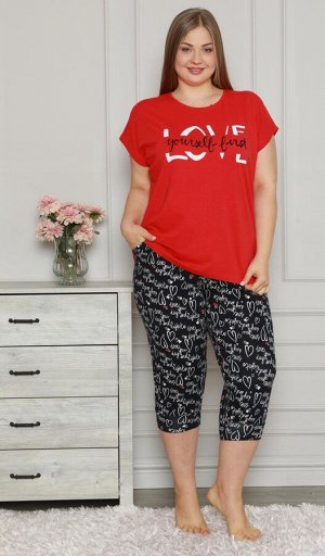 Пижамы для женщин большой размер ( с бриджами/футболкой) 26013
