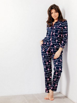 Пижама, домашний костюм Классика 137/фламинго