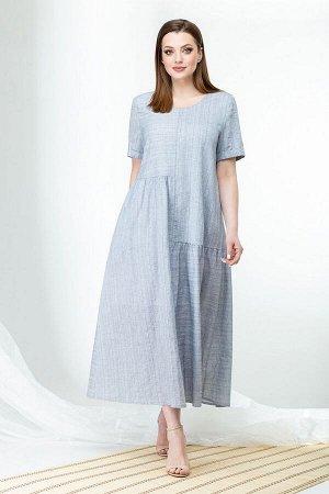 ELady 3885 Тип одежды: Платья и сарафаны; Состав: Хлопок 100%.; Рост: 170 Летнее платье из хлопка, в полоску. Платье А-образного силуэта, горловина округлая, рукав втачной с манжетой. По переду центра