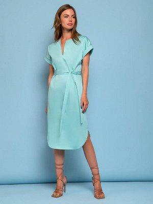 Платье-рубашка мятного цвета с короткими рукавами