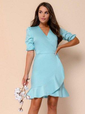 Платье мятного цвета длины мини на запах с пышными рукавами