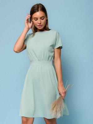 Платье мятного цвета длины мини с короткими рукавами