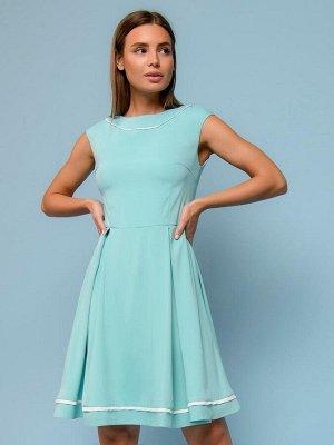 Платье мятного цвета с белой отделкой без рукавов