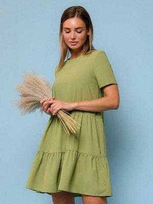 Платье оливкового цвета длины мини