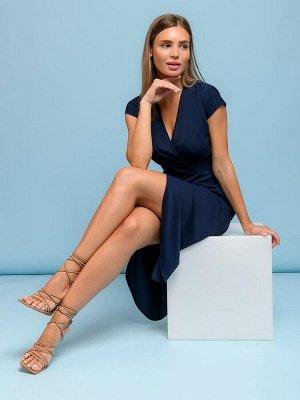 Платье темно-синее длины миди с запахом и короткими рукавами