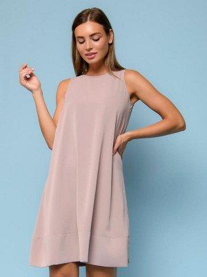 Платье бежевое длины мини без рукавов
