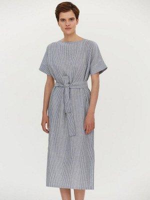 Платье синее в полоску длины миди с разрезами и поясом