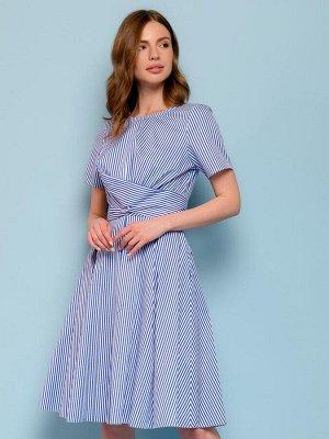 Платье синее в полоску с перекрученным лифом
