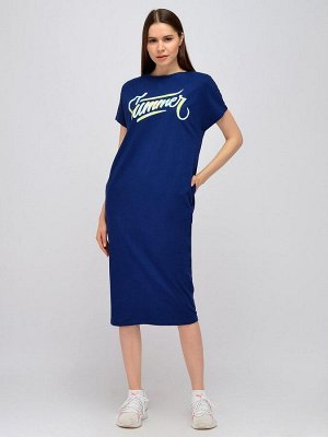 Платье синее в спортивном стиле длины миди с карманами