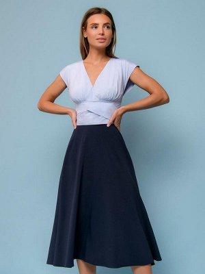 Платье синее длины миди с верхом в полоску