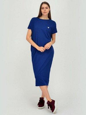 Платье синее длины миди с короткими рукавами и карманами