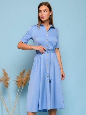 Платье синее длины миди с отложным воротником