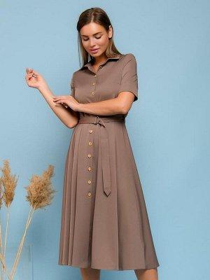 Платье цвета мокко длины миди с отложным воротником