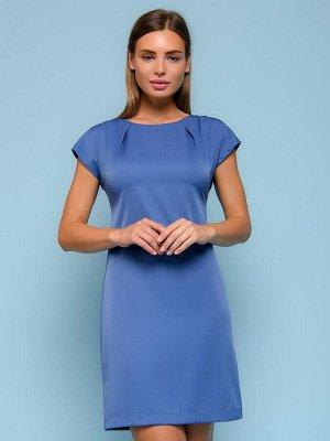 Платье синее длины мини с драпировкой