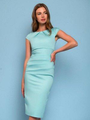 Платье-футляр мятного цвета с драпировкой
