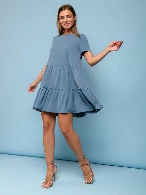 Платье серо-голубое длины мини