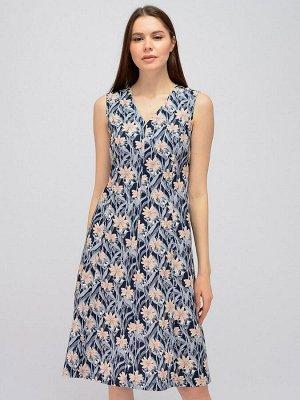 Платье синее с принтом длины миди и V-образным вырезом без рукавов
