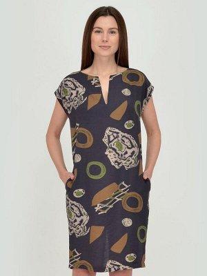 Платье синее с принтом длины миди и вырезом на спинке