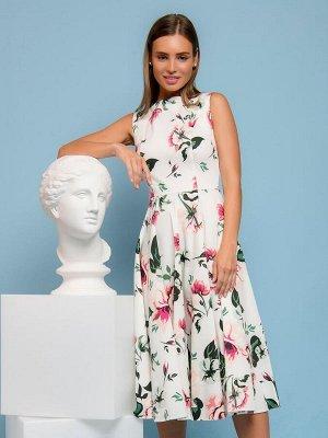 Платье белое с цветочным принтом длины миди в стиле ретро