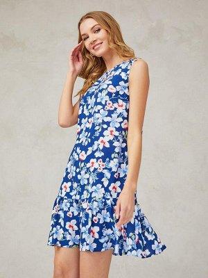 Платье синее с принтом длины мини без рукавов