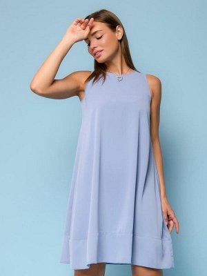 Платье голубое длины мини без рукавов
