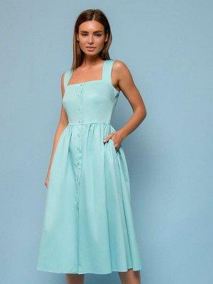Платье мятного цвета длины миди на бретелях