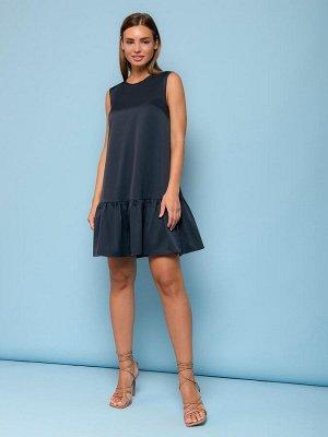 Платье темно-синего цвета без рукавов с воланом