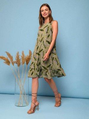 Платье зеленое без рукавов с цветочным принтом и воланом по подолу