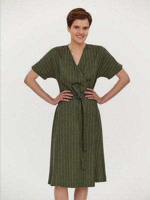 Платье зеленое в полоску с запахом и короткими рукавами