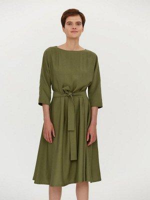 Платье зеленое длины миди с карманами и поясом
