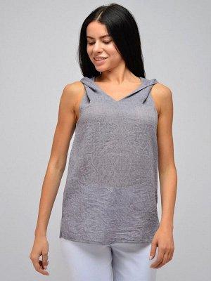 Блуза серая с V-образным вырезом без рукавов