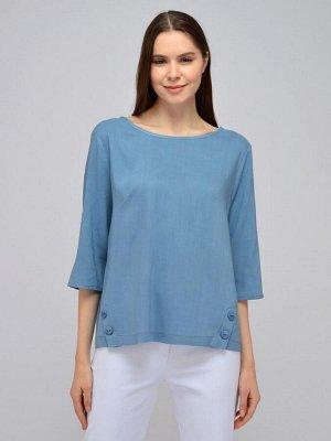 Блуза синяя с рукавами 3/4 и декоративными пуговицами