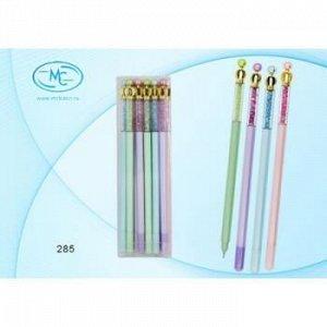 """Ручка гелевая """"Пиши-стирай"""" синяя 0.5 мм """"Корона с наполнителем-цветные стразы"""" 285 Basir {Китай}"""