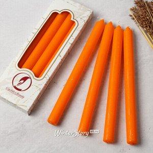 Столовые свечи 24.5 см, 4 шт, оранжевые (Омский Свечной)