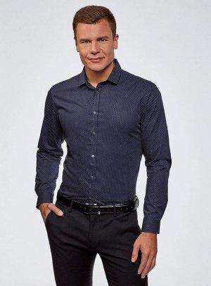 Рубашка приталенная в горошек