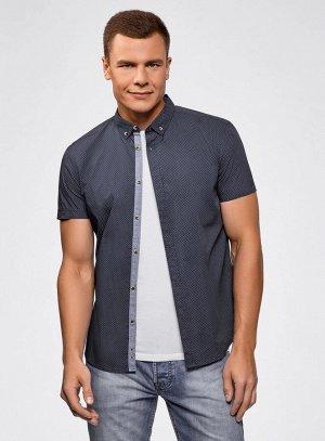 Рубашка приталенная с мелкой графикой