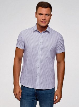 Рубашка приталенная в мелкую графику