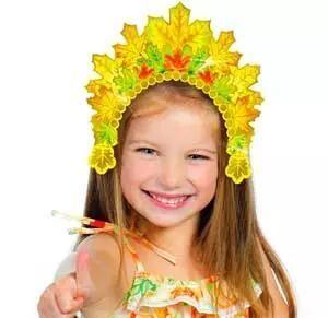 Маска-ободок на голову из осенних листьев