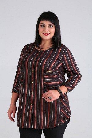 Блуза Блуза Novella Sharm 3566-3  Состав: ПЭ-95%; Эластан-5%; Сезон: Осень-Зима Рост: 170  Блуза в полоску очень актуальна в этом сезоне, поэтому она должна быть в вашем гардеробе. Перед блузы с бочк