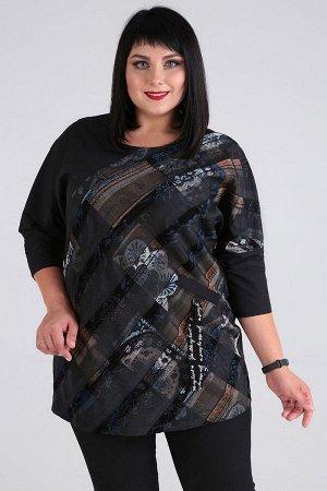 Блуза Блуза Novella Sharm 3578-с  Состав: ПЭ-100%; Сезон: Осень-Зима Рост: 170  Интересная блуза из полоски и плащевки в стиле бохо-станет любимой вещью вашего гардероба. Блуза покроя летучая мышь, с