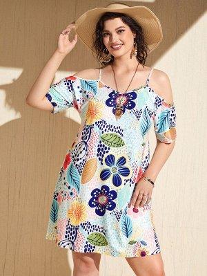 Размера плюс Платье-футболка с цветочным принтом открытыми плечами