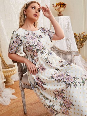 Размера плюс Платье А-силуэта цветочным рисунком & в горошек узлом сзади