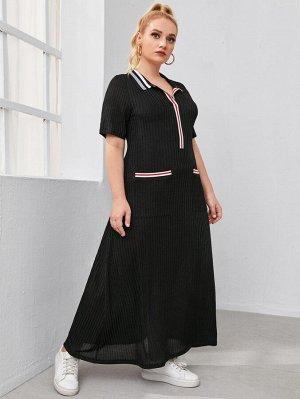 Трикотажное платье размера плюс с полосками и карманом