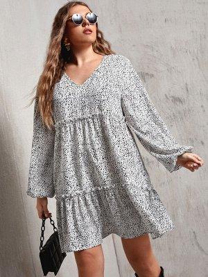 Платье размера плюс с оригинальным рукавом и принтом