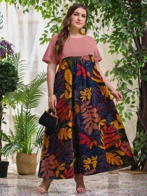 Платье макси размера плюс с тропическим принтом