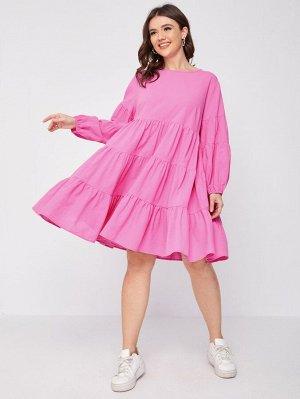 Размера плюс Платье с рукавами-фонариками