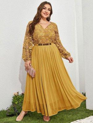 Платье размера плюс с поясом, цветочной вышивкой и v-образным вырезом