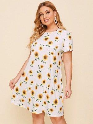Платье-футболка размера плюс с принтом подсолнуха