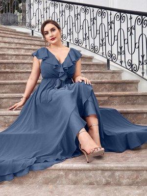 Шифоновое платье с запахом и поясом размера плюс